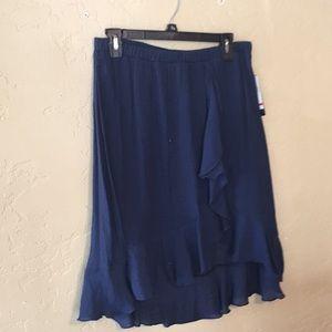 Navy blue ruffle skirt